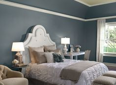 Benjamin Moore Paint Colors - Blue Bedroom Ideas - Restful Bedroom Retreat - Paint Color Schemes . . . . . Rich and refined, this timeless blue works in any space. . . . . . Walls (and lower part of tray ceiling) - Providence Blue (1636); Ceiling (upper part of tray ceiling) - Linen Sand (2151-60); Trim - Floral White (OC-29). - MASTER BEDROOM PROVIDENCE BLUE