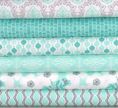 Mint Green, White and Gray Cotton Quilt Fabric Bundle, Camelot Lavishmint Collection, CAMLavishMint, Fat Quarter, Yardage, Grey by fabric406 on Etsy