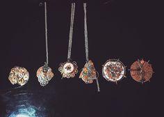 My handmade clockwork necklaces.