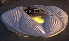 The design for Qatar's Al-Wakrah stadium. Zaha Hadid says it is inspired by the sails of Arab dhows