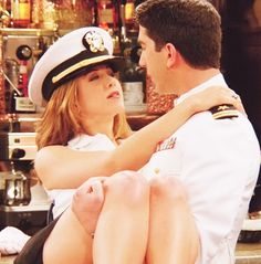 "Ross & Rachel recreating the scene from ""An Officer and a Gentleman"""