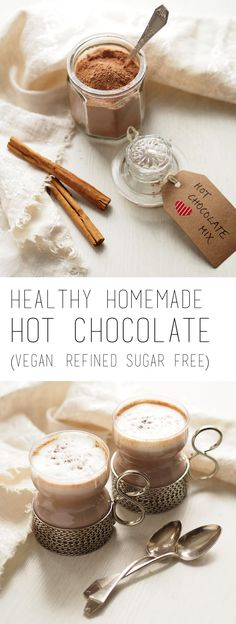 Healthy and delicious hot chocolate (sugar free, vegan) Clean Eating Chocolate, Healthy Hot Chocolate, Hot Chocolate Mix, Hot Chocolate Recipes, Cocoa Recipes, Chocolate Pudding, Chocolate Flavors, Pie Recipes, Drink Recipes