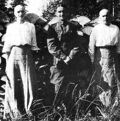 "The Grand Duchesses Tatiana and Anastasia Nikolaevna Romanova of Russia with a guard,imprisoned at Alexander Palace,Tsarskoe Selo in 1917. ""AL"""