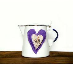 Vintage White Enamel Pot , Coffee Pot , Retro, Kitchen, Enamelware £19.46