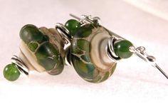 artisan lampwork, BC jader and sterling silver earrings