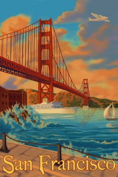 "Golden Gate Bridge - San Francisco, CA Poster. Miss San Fran. It""s a great city. San Francisco Travel, San Francisco California, Yosemite National Park, National Parks, Puente Golden Gate, Retro Poster, Poster Poster, Vintage Travel Posters, Golden Gate Bridge"