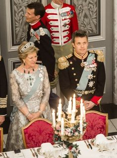 Queen Anne Marie of Greece and her nephew Crown Prince Frederik at  the 75th birthday gala celebration for her sister Queen Margrethe of Denmark 4/15/2015