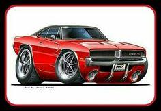 1973 1974 Dodge Charger Muscle Car Cartoon T-Shirt automotive art Red Sports Car, Sport Cars, Weird Cars, Cool Cars, Car Art, Muscle Cars, Hot Rods, Cool Car Drawings, Us Cars