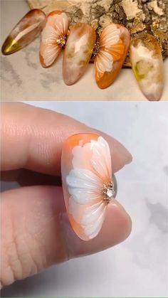 Rose Nail Art, Floral Nail Art, Rose Nails, Flower Nails, Gel Nails, Nail Art Designs Videos, Nail Art Videos, Nail Designs, Nail Art Flower Designs