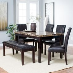 Finley Home Palazzo 6 Piece Dining Set with Bench - Dining Table Sets at Hayneedle