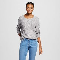 Women's Long Sleeve Cable Pullover Sweater   - Mossimo Supply Co.™ (Juniors')