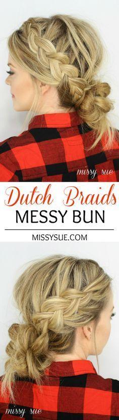 Dutch Braids and Low Messy Bun
