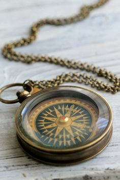 Unique Brass Pocket Compass Necklace with by CoughingCowNChicken