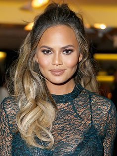 Best 2015 Celebrity Hair Moment - Chrissy Teigen's wavy half-up hairstyle at The Hollywood Reporter's beauty dinner in Los Angeles | allure.com