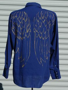 XL Blue Western Angel Wing Mens Shirt by OLearStudios on Etsy