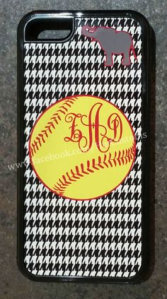 iPhone 5C Otterbox Style Case Comes in Black/White $34.99 Choose from one of our designs, or use your own photos/ideas. #personalizedgifts #personalizedphonecase #monogram #softball