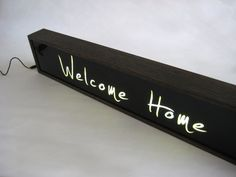 """Pre ORDER Large 84cm Hand Painted Wooden LIght Box Signs """"WELCOME HOME"""" Vintage…"""