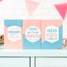 Pack de tres libretas la mar de útiles para llevarlas a todas partes y apuntar todas esas ideas brillantes que te vienen a la cabeza. #notebooks #mrwonderfulshop #stationery
