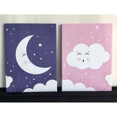 2 Piece Night Sky Canvas Art Set Isabelle & Max Size: 40 cm H x 30 cm W