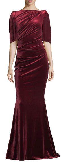 Talbot Runhof Lobata Velvet Capelet Gown