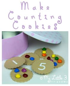 Homemade counting cookies made from a simple salt dough recipe. Great for early number skills and imaginative play. Great as a song/rhyme sack accessory 'Who stole the cookies from the cookie jar. Math For Kids, Fun Math, Math Games, Toddler Activities, Preschool Activities, Educational Activities, Crafts For Kids, 19 Kids, Numbers Preschool