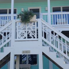 Custom Exterior PVC Vinyl Shutters w/ Nautical Cutouts, Decorative Exterior PVC House Trim, Nautical Vinyl Porch Railing Panels & Gates. Coastal Homes, Coastal Living, Coastal Decor, Coastal Cottage, Porch Trim, Front Porch Railings, Cottages By The Sea, Beach Cottages, Beach Houses