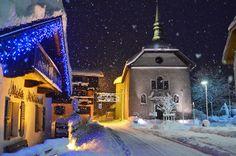 Centre des Houches in winter. Mont Blanc.