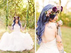 Secret Garden Bridal Portraits- Alice & Wonderland Themed Inspo - The Blue Haired Bride - Alternative Brides - Brooke Michelle Photography