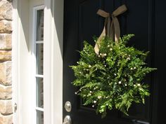Spring Wreath - Boxwood, Fern and Burlap Bow for Year Round