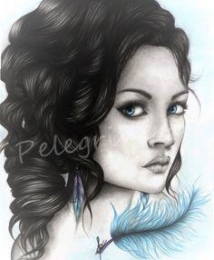 "Portrait ""Blue Dream"" - Dessin original"