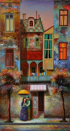 Couple In Love Art Print featuring the painting Couple In Love by David Martiashvili