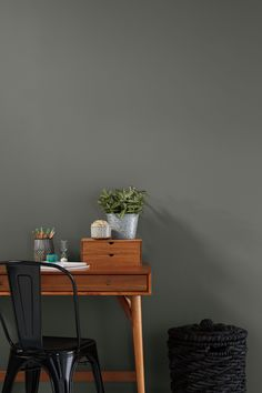 A deep grey adds instant sophistication to any space! Pictured here is Color Journeys 'Dakota' Available at your local General Paint dealer. Home Office Space, Home Office Decor, Wall Paint Combination, Paint Combinations, Color Combos, Wallpaper Stencil, Master Bedroom Bathroom, Kitchen Wall Colors, Home Decor Hacks