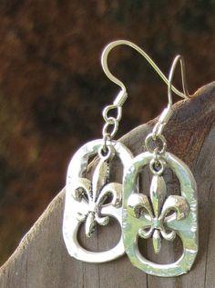 Handmade Pull Tab Fleur de Lis Earrings
