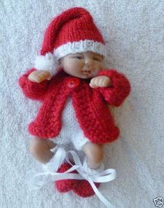 """Hand knitted dolls clothes to fit 4.5"""" ooak sculpt baby"""