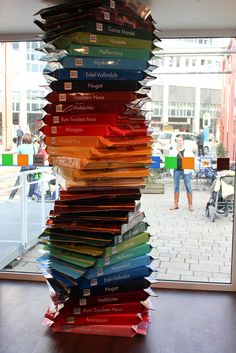 Ritter Sport Pop up shop... Germany. US has Ritter bars but there is so much more selection in Germany.