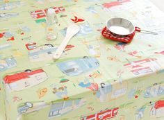 Trailer and Camping Design Cotton Fabric AW63 by luckyshop0228, $11.70