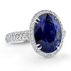 Brides.com: Engagement Rings with Colorful Stones. Style R1042, platinum and diamond ring with oval sapphire, $32,000, Omi Gems                                                                                                               See more oval-cut engagement rings.