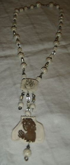 1981 MARY LOU HIGGINS CERAMIC, STERLING CUT OUT PERSON & LUSTER BEADS NECKLACE (11/24/2013)