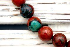 Sonoran Sunrise Sunset Cuperite Chrysocolla 14-14.5mm round beads (ETB01218) by Sparklelittle
