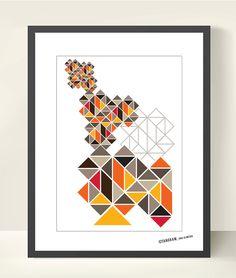 Tangram Geometric Art, Abstract Poster Print A3, Wall Decor, Mid Century Modern, Scandinavian design inspired, Good Mood Home & Office Decor. $18.50, via Etsy.