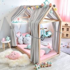 Muslin canopy for house beds & light gray Musselin Stoffhimmel für Hausbetten 'Sterne' hellgrau Soft, softer, Dinki Balloon Soft collection! Baby Bedroom, Baby Room Decor, Girls Bedroom, Bedroom Curtains, Toddler Bed Frame, Toddler Rooms, Kids Bedroom Ideas For Girls Toddler, Baby Girls, Kids Room Design