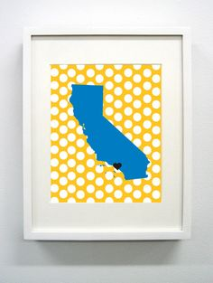 Los Angeles California State Giclée Print  8x10   by PaintedPost, $15.00 - UCLA - Bruins #paintedpoststudio - What a great and memorable gift for graduation, sorority, hostess, and best friend gifts! Also perfect for dorm decor! :)