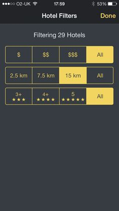 Expedia hotels app - filter view