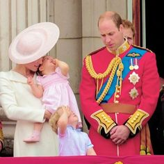 The Cambridges on the balcony during the Trooping the Colour, this year marking the Queen's official 90th birthday at The Mall on June 11, 2016 in London, England.