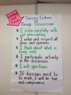 success criteria for group discussion