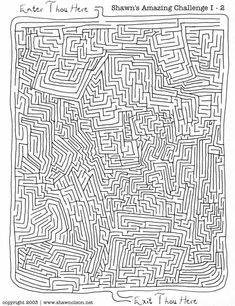 The second maze in the Amazing Challenge. Fun Worksheets For Kids, Card Games For Kids, Summer Activities For Kids, Summer Kids, Hard Dot To Dot, Hard Mazes, Maze Drawing, Fantasy Map Maker, Dot To Dot Printables