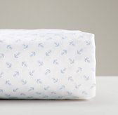 European Anchor Print Crib Fitted Sheet | Nursery Sheeting | Restoration Hardware Baby & Child
