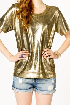 Gold knit sweater. fancy :)