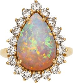 Opal, Diamond and Gold Ring