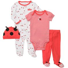 799229eb2 Carter's Girls Ladybug Appliqued 4 Piece Layette Set with Footie, Bodysuit,  Footed Pants,